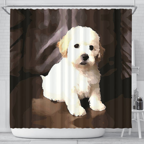 Shih-poo Dog Print Shower Curtain-Free Shipping
