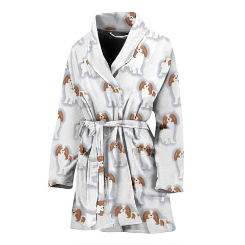 Cavalier King Charles Spaniel Patterns Print Women's Bath Robe-Free Shipping