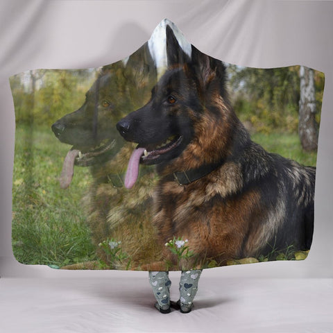 German Shepherd Dog Print Hooded Blanket-Free Shipping