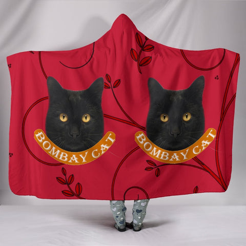 Bombay Cat Print On Red Hooded Blanket-Free Shipping