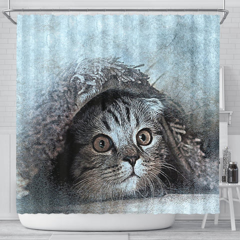 Lovely Cat Art Print Shower Curtains-Free Shipping