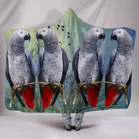 Lovely African Grey Parrot Print Hooded Blanket-Free Shipping