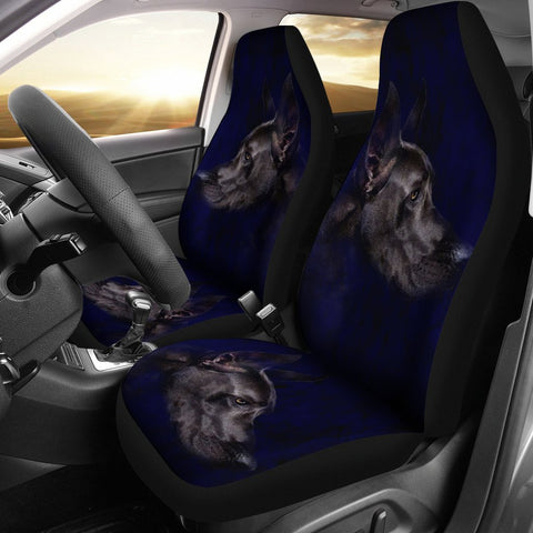Black Great Dane Dog Art Print Car Seat Covers-Free Shipping