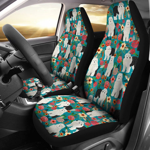 Old English Sheepdog Floral Print Car Seat Covers-Free Shipping