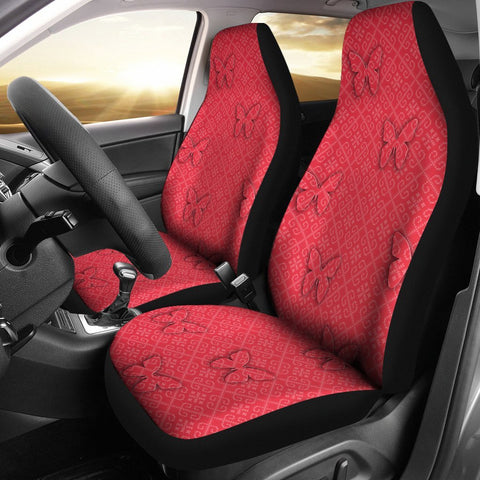 Butterfly Print On Red Car Seat Covers-Free Shipping