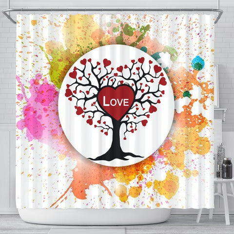 Colorful Love Tree Print Shower Curtain-Free Shipping