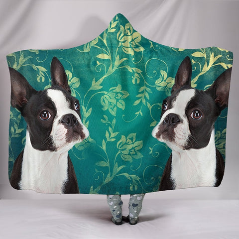 Cute Boston Terrier Print Hooded Blanket-Free Shipping