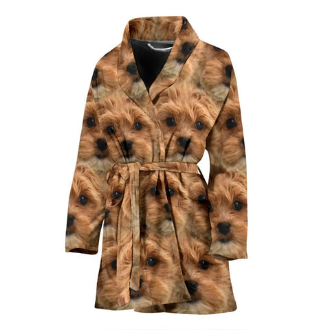 Shih-Poo Dog Print Women's Bath Robe-Free Shipping