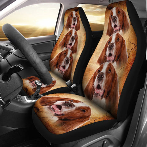 Irish Red and White Setter Print Car Seat Covers-Free Shipping