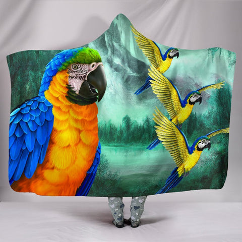 Blue And Yellow Macaw Parrot Print Hooded Blanket-Free Shipping