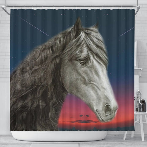 Amazing Friesian horse Print Shower Curtain-Free Shipping