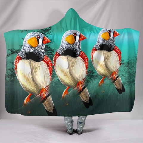 Zebra Finch Bird Print Hooded Blanket-Free Shipping