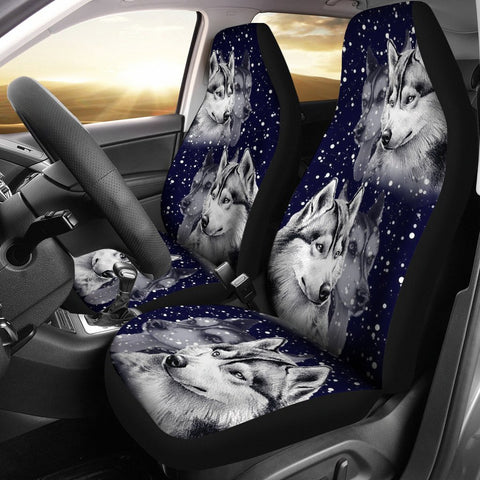 Siberian Husky Dog Art Print Car Seat Covers-Free Shipping