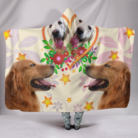 Golden Retriever in heart Print Hooded Blanket-Free Shipping