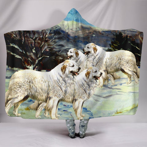 Great Pyrenees Dog Print Hooded Blanket-Free Shipping
