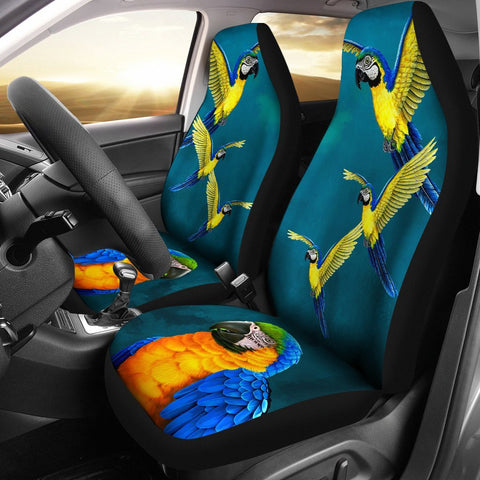 Blue-and-Yellow Macaw Parrot Print Car Seat Covers-Free Shipping