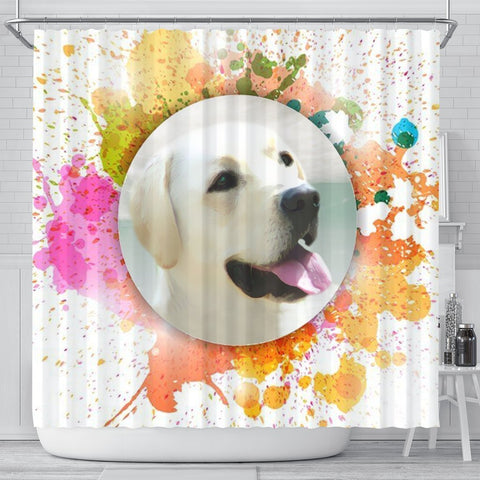 Colorful Labrador Retriever Dog Print Shower Curtain-Free Shipping