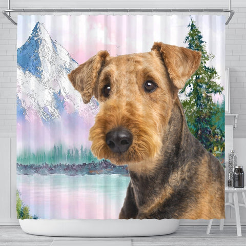 Cute Airedale Terrier Print Shower Curtains-Free Shipping