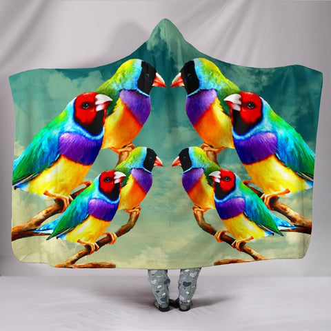 Gouldian Finch Bird Art Print Hooded Blanket-Free Shipping