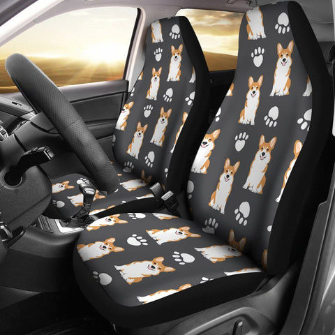 Pembroke Welsh Corgi With Paws Print Car Seat Covers-Free Shipping