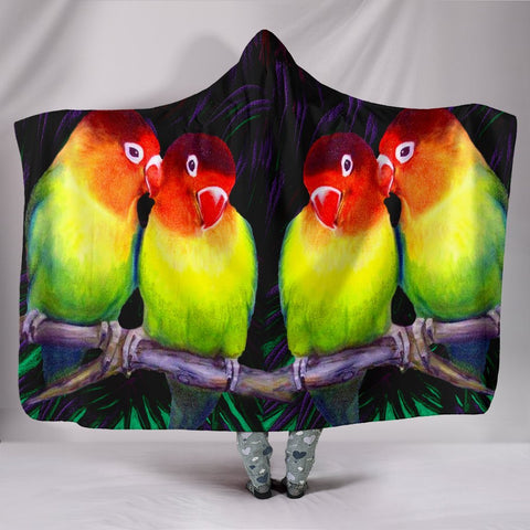 Love Bird Print Hooded Blanket-Free Shipping