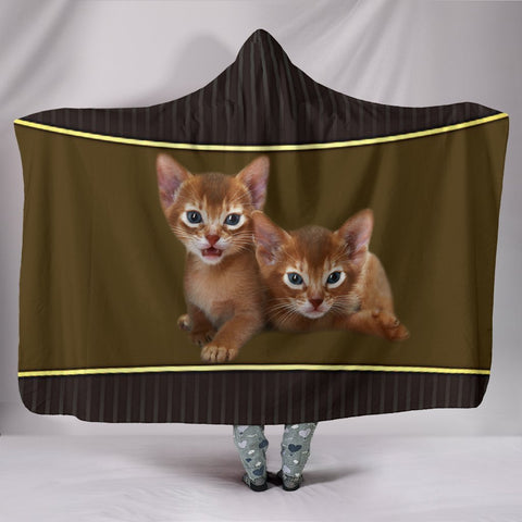 Abyssinian cat Print Hooded Blanket-Free Shipping
