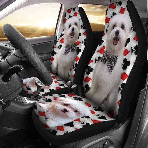 Maltese Dog Print Car Seat Covers-Free Shipping