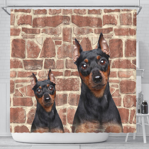 Miniature Pinscher Print Shower Curtains-Free Shipping