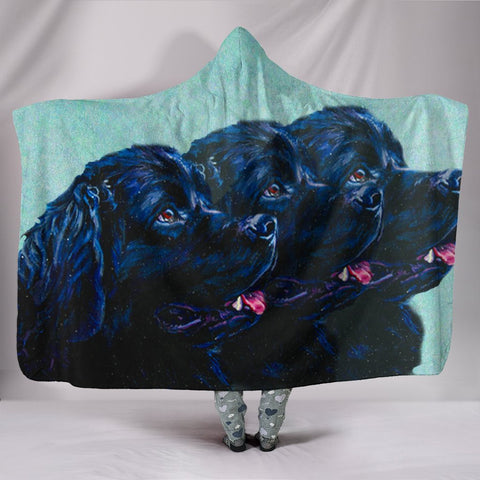 Newfoundland Dog Art Print Hooded Blanket-Free Shipping