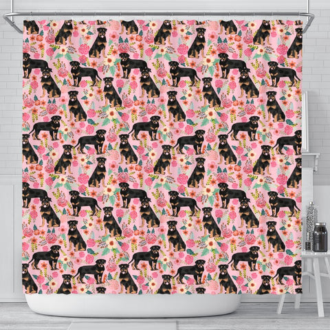 Rottweiler Dog Floral Print Shower Curtain-Free Shipping