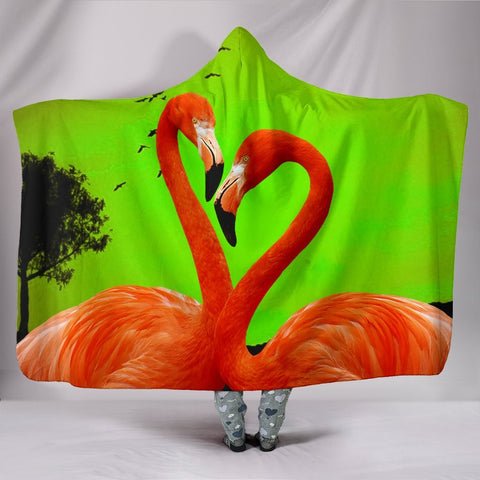 Flamingo Bird Print Hooded Blanket-Free Shipping