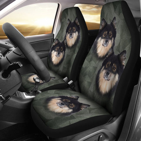 Finnish Lapphund On Black Print Car Seat Covers-Free Shipping