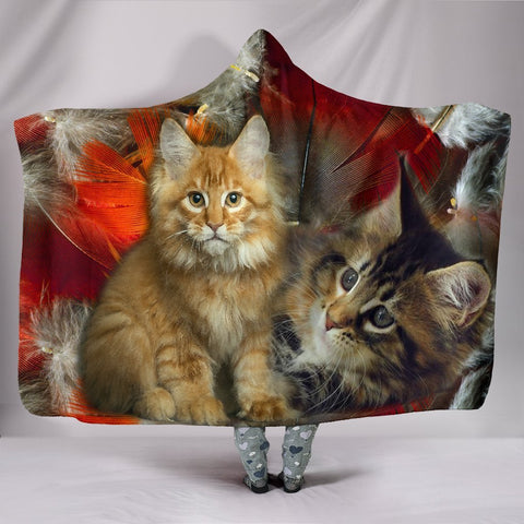 Maine Coon Cat Print Hooded Blanket-Free Shipping