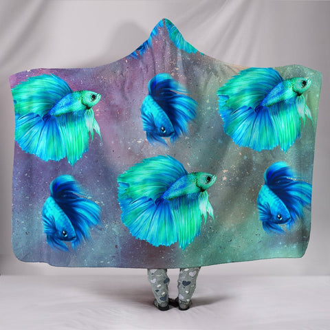 Siamese Fighting Fish Print Hooded Blanket-Free Shipping
