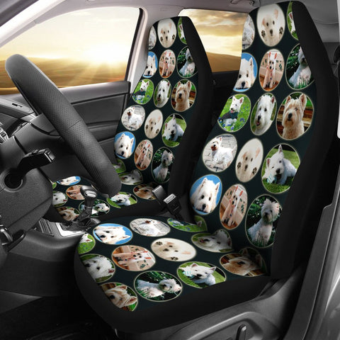 Cute Westie Dog Pattern Print Car Seat Covers-Free Shipping