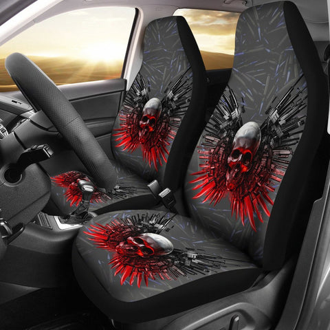 Limited Edition-Gun And Skull Print Car Seat Covers-Free Shipping