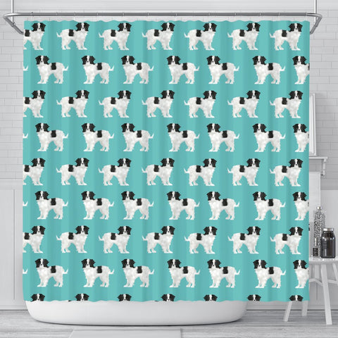 Cute Japanese Chin Dog In Lots Print Shower Curtains-Free Shipping