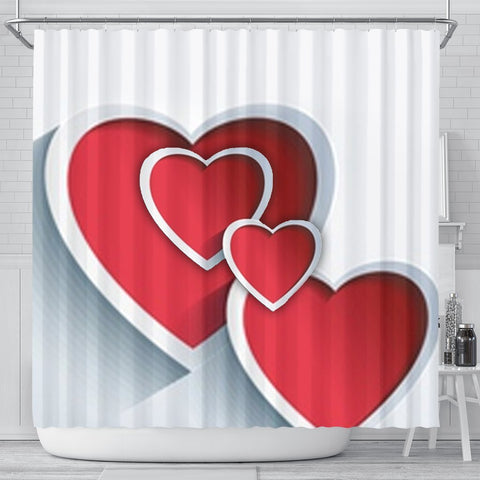 Red Heart Print Shower Curtain-Free Shipping