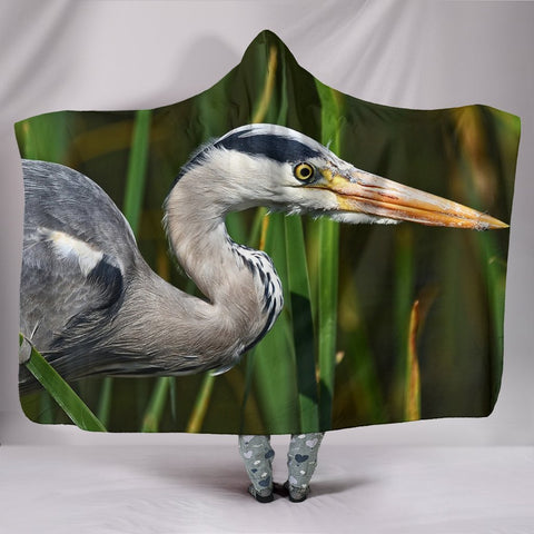 Grey Heron Bird Print Hooded Blanket-Free Shipping