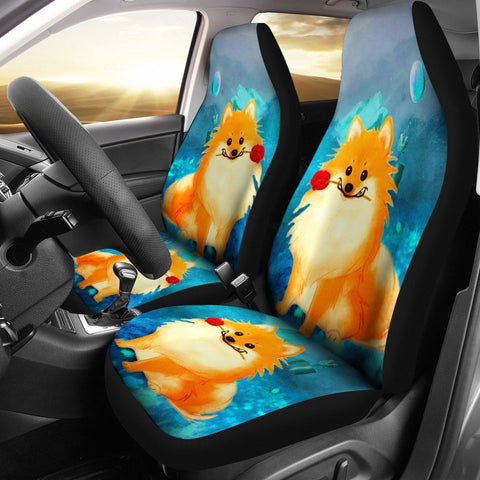Cute Pomeranian Dog Art Print Car Seat Covers- Free Shipping