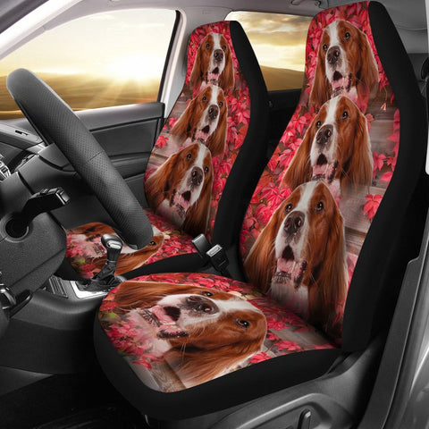 Irish Red and White Setter On Flower Print Car Seat Covers-Free Shipping
