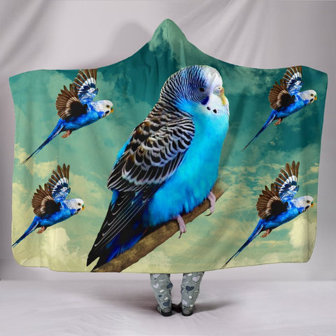 Blue Budgie Parrot Print Hooded Blanket-Free Shipping