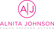 Hot pink letters A and J inside a circle. Underneath is the name Alnita Johnson, Coach Speaker and Coach