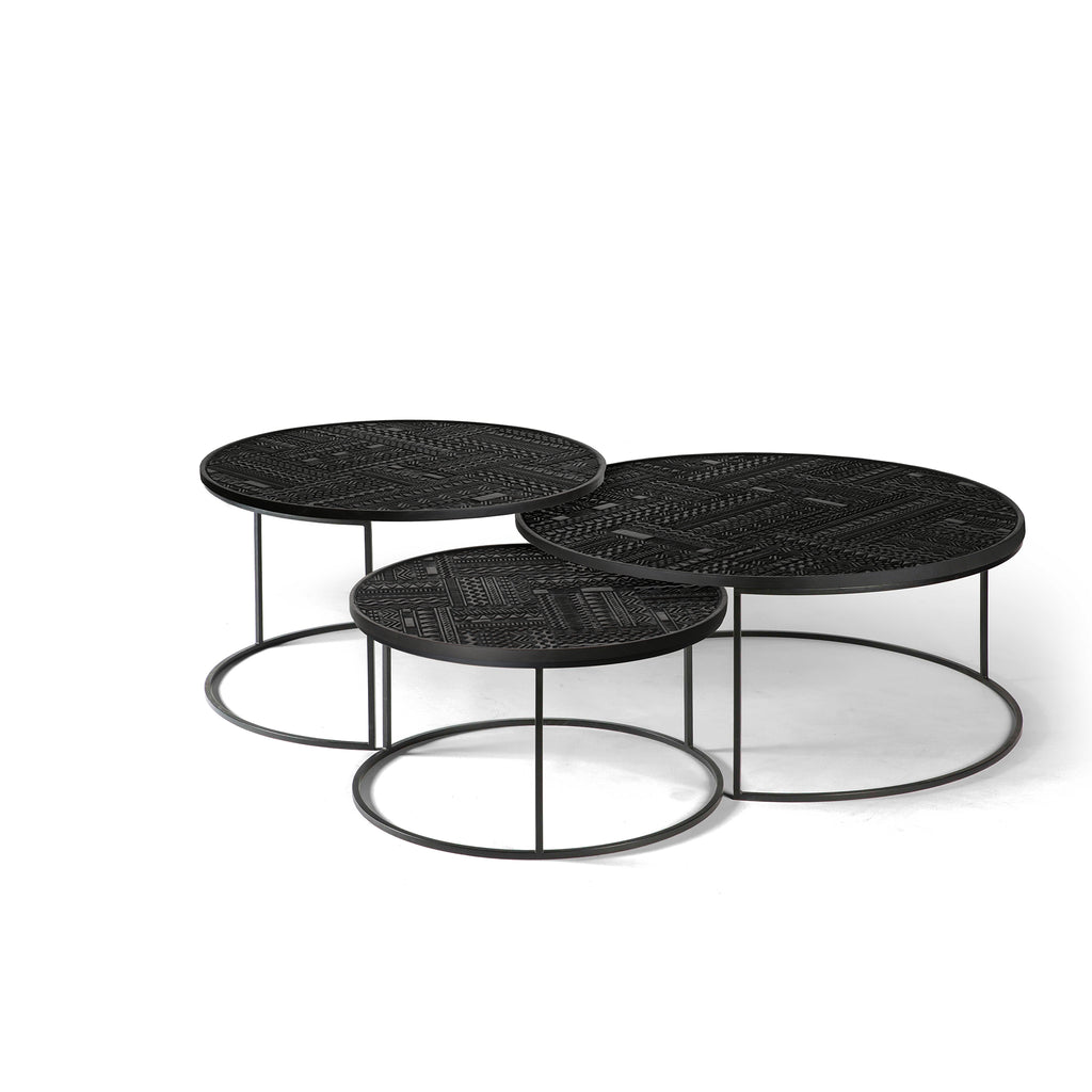 Teak Tabwa Round Nesting coffee table - set of 3