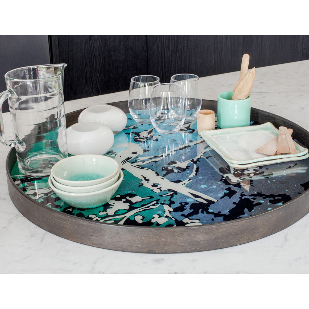 Birds of Paradise glass tray 24 x 24 x 2