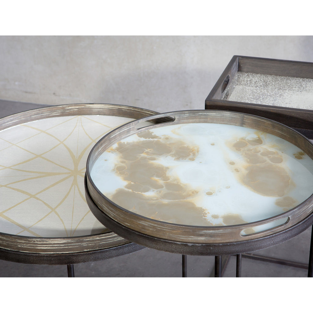 Mist Gold Organic glass tray- 19 x 19 x 2
