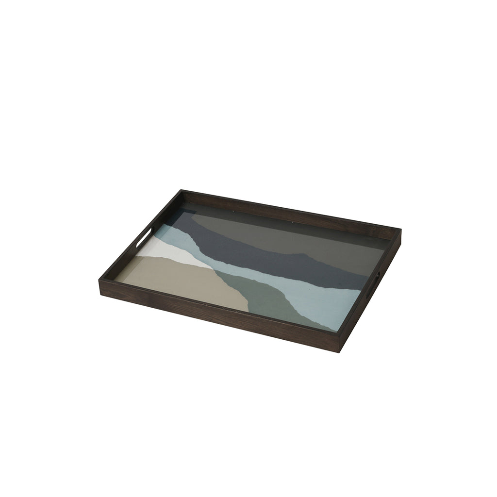 Graphite Wabi Sabi glass tray 24 x 18 x 2