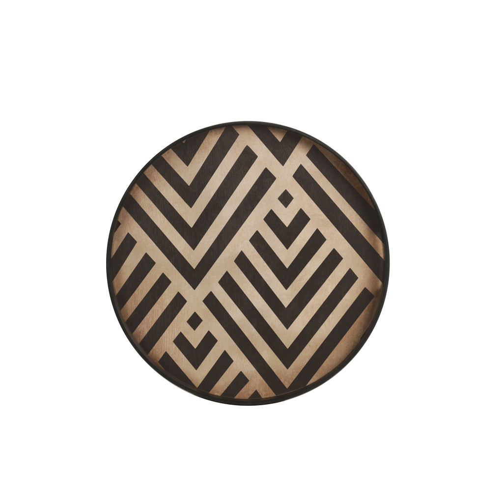 Graphite Chevron wooden tray- 19 x 19 x 2