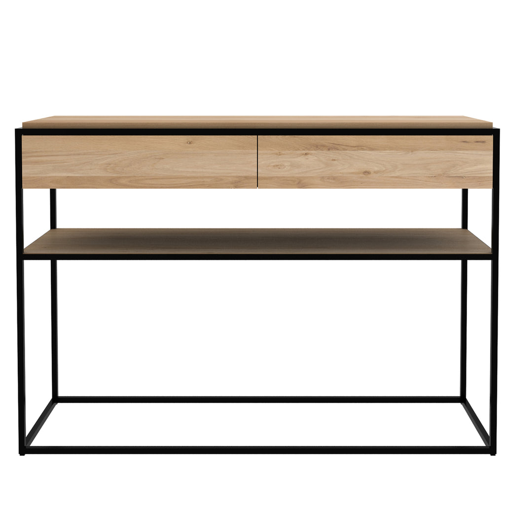 Oak Monolit console - 2 drawers  - black - FSC 48 x 16 x 33