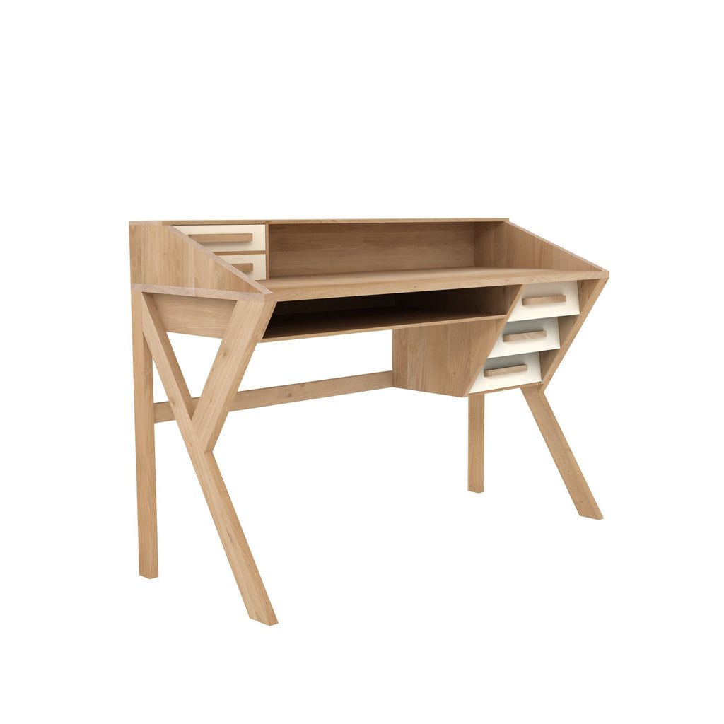 Oak Origami desk - black - 5 drawers